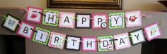 Owl Happy Birthday Banner Custom Made Party Decoration