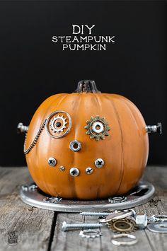 Easy DIY Steampunk Pumpkin, a fun and whimsical mechanical wonder. A unique Halloween pumpkin that's sure to be a conversation starter. A great kids craft too. Holidays Halloween, Halloween Treats, Halloween Pumpkins, Halloween Diy, Vintage Halloween, Happy Halloween, Halloween Decorations, Steampunk Halloween, Steampunk Diy