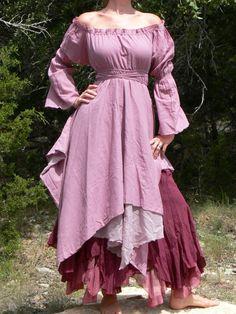 Long Length s M Layered Gypsy Skirt Renaissance Pirate Fairy Peasant Burgundy | eBay