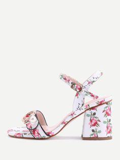 c11036750fe80 Shop Calico Print Buckle Block Heel Sandals online. SheIn offers Calico  Print Buckle Block Heel