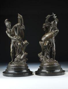 Art Sculptures Bronze Art Deco Warrior Woman Knight Lady Figure Marble Base Sculpture Statubb Terrific Value