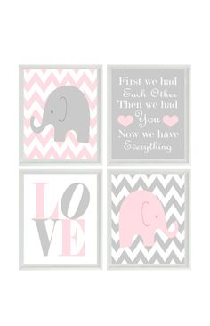 Elephant Nursery Art Baby Girl Nursery Pink Gray by RizzleandRugee