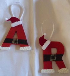 """Top 38 Easy and Cheap DIY Christmas Crafts Kids Can Make """"Mini wooden letters, some cotton balls & felt for texture, hot glue a mini Santa hat…"""""""