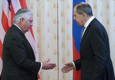 Tillerson goes to Russia and more: April 12 in photosU.S....  Tillerson goes to Russia and more: April 12 in photos  U.S. Secretary of State Rex Tillerson left and Russian Foreign Minister Sergey Lavrov shake hands prior to their talks in Moscow Russia; Hooded penitents from La Paz brotherhood take part during a Holy Week procession in Cordoba Spain; Pakistani activist and Nobel Peace Prize winner Malala Yousafzai left is presented with an honorary Canadian citizenship by Prime Minister…