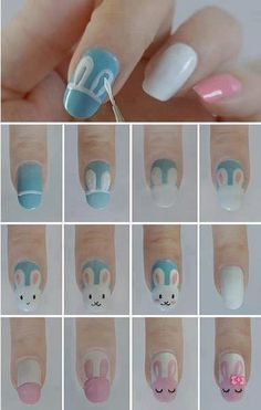 Bunny nail art - Did this for Easter on our toes -  was cute and super easy - Even did my toddler's toes