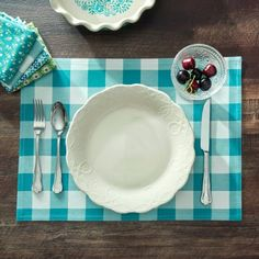 The Pioneer Woman Charming Check Reversible Placemat, Teal
