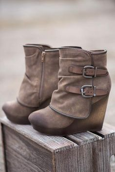 Why Don't We Just Wedge Double Buckled Wedge Booties (Taupe) - NanaMacs.com - 2