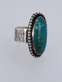 Nevada Turquoise Ring set in Sterling Silver Size by SilverSpiral1, $89.00