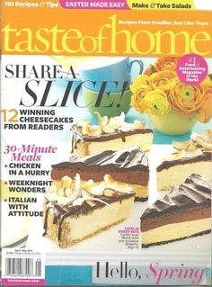 Taste of Home Magazine April/May 2012 Cooking Cheesecake Recipes 30 Minute Meals