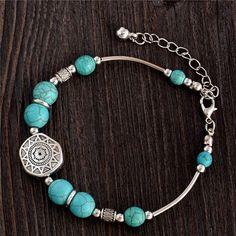 Pulseras Cuero Buddha bangle Retro Style Turquoise Round Beads Boho Br – Zenzle