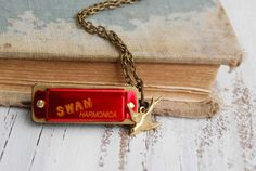 LOVE Song Tiny RED Harmonica Necklace Music Golden Bird Music Pendant Folk Music Rock n Roll JAZZ