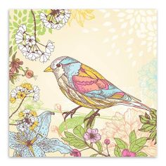 Colorful Birds Flower Canvas Wall Decal