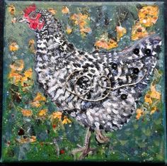 ARTFINDER: Speckled Hen by Fiona Plaisted - This mixed media canvas was inspired by a lovely speckled (black and white) hen. I love the fancy feathers and enjoyed building up the layers of the feathers...