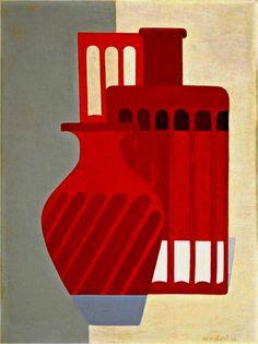 """Amédée Ozenfant, """"Les vases"""", 1925 presque exclusivement des nature mortes + volonté d'épuration + notion aussi de règlles= on retrouve le dessin préparatoire (ingres) = totalement différent de Cézanne"""