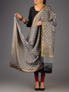 Grey Banarasi Silk Zari Booti Dupatta