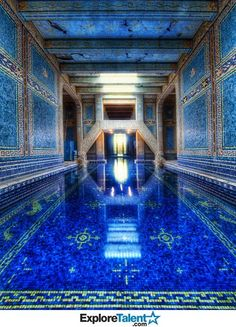 This is the *indoor* pool at Hearst Castle in San Simeon, CA. The picture has no way of capturing the absolute magnificence of this pool. If you ever get the chance to go, make sure to take the tour that includes this pool. The tiles have real gold inlay.