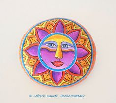 Hand painted Colorful Sun On A Round Stone by Lefteris Kanetis - RockArtAttack
