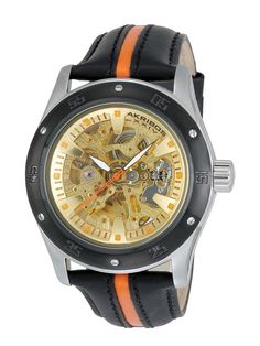 Akribos XXIV Men's Round Black & Orange Watch
