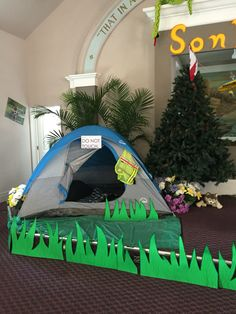 Sonrise National Park VBS decorations, camping, front stage, tent, campfire, wilderness, forest