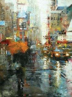 Manhattan Orange Umbrella by Mark Lague Oil ~ 48 x 36