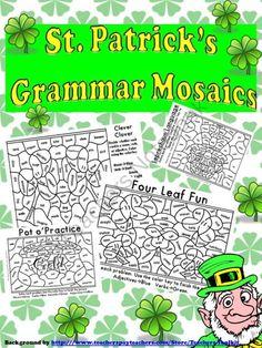 St. Patricks Day Grammar Mosaics-Color By Part of Speech-Nouns,Verbs,Adjectives, Adverbs product from TeachesThirdinGeorgia on TeachersNotebook.com