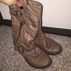 Brown Boots Light Brown Boots with Side Zipper & Buckle ~ Cute & Comfy ~ Mid Calf Height ~ Only Flaw is Shown in Pic 3 Shoes Combat & Moto Boots