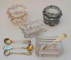 Salt cellars and spoons & RESERVEDRL-Vintage Glass Salt Cellars 7 pc- Queens Manor   Pinterest ...