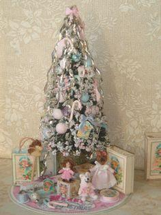 ooak dollhouse shabby christmas tree with gifts 112 miniature christmas tree for dollhouses - Miniature Christmas Decorations Uk