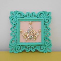 RESERVED FOR DIANE. Pearl princess crown art. Mosaic wall art. Pastel pink. Teal. Painted ornate frame. Sparkle glitter picture.