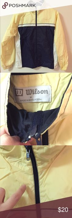 Wilson Windbreaker Size Medium Perfect windbreaker from Wilson sports brand. 20 inch bust when laid flat,?24 inches long from top of shoulder to bottom of hem. Upper body is Nylon, lining is cotton and poly blend. Some very minor issues of small dots (pictured). Very gently worn. Wilson Jackets & Coats Trench Coats
