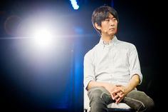 """The best ideas in the world combine entertainment and utility,"" Masashi Kawamura (Creative Director/Co-Founder PARTY Inc.). He was part of the Fast Company Storytellers Panel at C2-MTL 2012. © CHARLES WILLIAM PELLETIER. #C2MTL Co Founder, Creative Director, Speakers, Storytelling, Entertainment, Party, Ideas, Loudspeaker, Receptions"