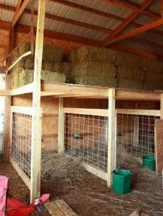 Birthing pens with hay storage above, homemade goat pens, barn customization, goat pen inspiration Goat Shelter, Sheep Shelter, Goat Pen, Goat House, Goat Care, Raising Goats, Raising Farm Animals, Farm Projects, Sheep Farm