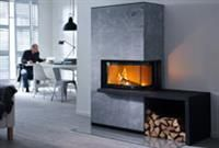 The 41 series of stoves from Contura features a stove with an angled glass and a choice of surrounds, with the option of adding a log store as shown here with the i41T. Rated at 9 kW's.
