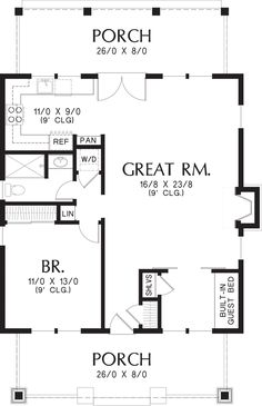This bungalow design floor plan is 960 sq ft and has 1 bedrooms and has 1 bathrooms. Guest House Plans, Cottage Style House Plans, House Plans And More, Cottage Style Homes, Cottage House Plans, Cabin Plans, Small House Plans, House Floor Plans, 1 Bedroom House Plans