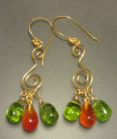 Peridot, Carnelian with 24k over Sterling