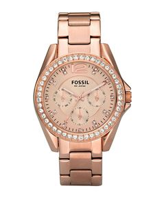 Fossil Watch, Womens Riley Rose Gold Plated Stainless Steel Bracelet 36mm ES2811 - All Watches - Jewelry & Watches - Macys