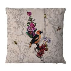 Hawfinch cushion from Timorous Beasties