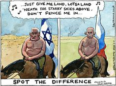 """Guardian cartoonist @BellBelltoons can't """"spot the difference"""" between Russia and Israel"""