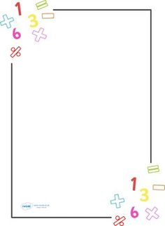 A set of numeracy themed page borders for children to use as a stimulus in their independent writing. Poster Background Design, Powerpoint Background Design, Kids Background, Page Borders Design, Border Design, Math Border, Math Design, School Border, Math Pages