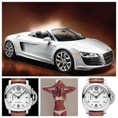 Tan & White... Always a great color combination. ⚫️ Car: Audi R8 Spyder ⚫️ Watch: Panerai PAM523 ⚫️ Model: @isabellaashleigh2  WHICH WOULD YOU CHOOSE??? PLEASE FOLLOW ME AND LET ME KNOW. THANKS.  #audi #r8 #spyder #sportscar #cars #automobiles #panerai #pam523 #luminor #white #whitedial #steel #swimwear #tan #followme @adgrisar #watchporn