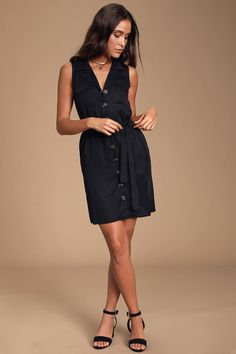 The Lulus Tenino Black Sleeveless Button-Up Shirt Dress is a perfect piece to elevate your look! A lightweight woven button-up shirt dress. Button Up Dress, Button Up Shirts, Classic Black Dress, Office Dresses, Large Size Dresses, Belted Dress, Dress Shirt, Mini Skirts, Summer Dresses