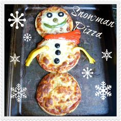 Snowman Pizza .... so cute! My kids will love this! Don't know why I didn't think of this myself.