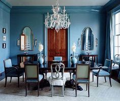 monochromatic room by Suzanne Kasler. love the high-gloss trim in the same blue shade.