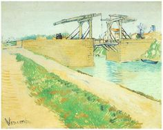 Vincent van Gogh Painting, Oil on Canvas Arles: March, 1888 Van Gogh Museum Amsterdam, The Netherlands, Europe F: 400, JH: 1371  Van Gogh: Langlois Bridge at Arles with Road Alongside the Canal, The Van Gogh Gallery