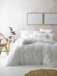 Exquisitely detailed with chenille ruffles, the Fog Quilt Cover Set from Linen House exudes classic femininity in your bedroom. Textured Duvet Cover, Textured Bedding, Dream Bedroom, Home Bedroom, Bedroom Decor, Bedrooms, White Bedding, Bedding Sets, King Comforter Sets