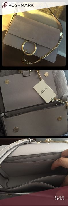Chloe inspired Cross body/shoulder bag Very good quality genuine leather cross body bag  with metal chain detailing and adjustable belt. The front part is smooth suede material, magnetic closer. Never been used. 9.4 x 2 x 5.9 inches Bags Crossbody Bags