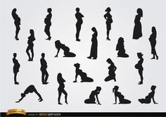 Pregnant woman silhouettes. They are in different positions, some of them doing yoga, and they are perfect to use in promos for pregnant products, therapies, etc. Under Commons 4.0. Attribution License.