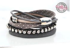Armband taupe Stoff-, Leder-, Strass-Mix, Punkte von Andrea Traub - FASHION  das Original Wickelarmbänder als Endlosband & Armbänder auf www.andreatraub.com