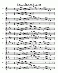 Music score of saxophone scales Free sheet music for sax Trombone Sheet Music, Alto Sax Sheet Music, Jazz Sheet Music, Saxophone Music, Soprano Saxophone, Recorder Music, Free Sheet Music, Piano Music, Tenor Sax