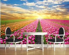 Us 1345 55 Off Custom Natural Scenery Wallpaper Sunrise And Flower Photo Mural For Living Room Bedroom Wall Pvc Wallpaper In Wallpapers From